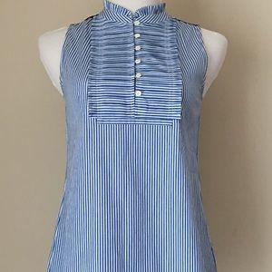 J CREW Sleeveless Pin Stripe Ruffle Button Blouse